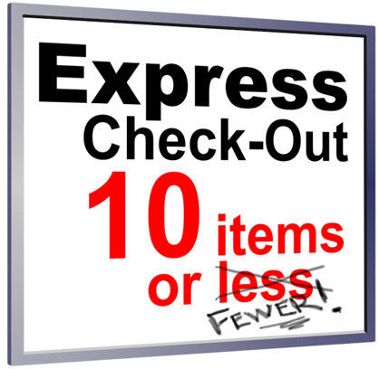 10 items or less sign with