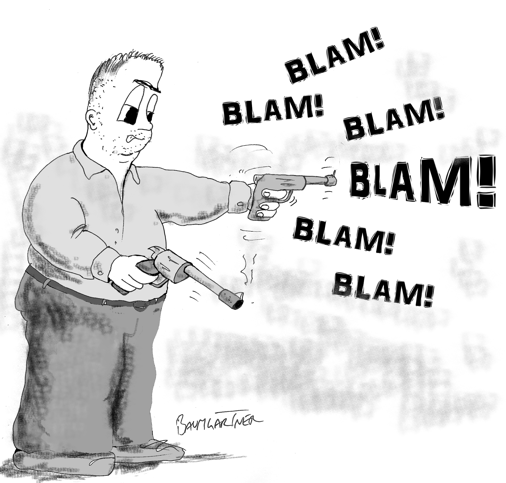 Cartoon: Fat man shooting