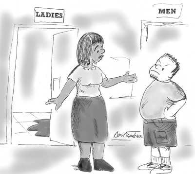 Cartoon: transexual tells father his daughter has hurt herself in the women's bathroom