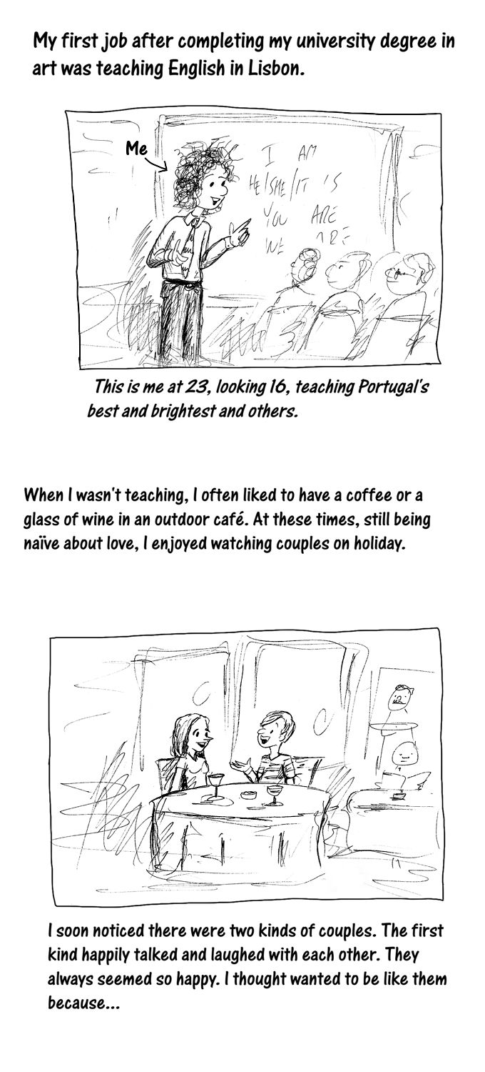 Cartoon story: what I learned watching couples in Lisbon - 1