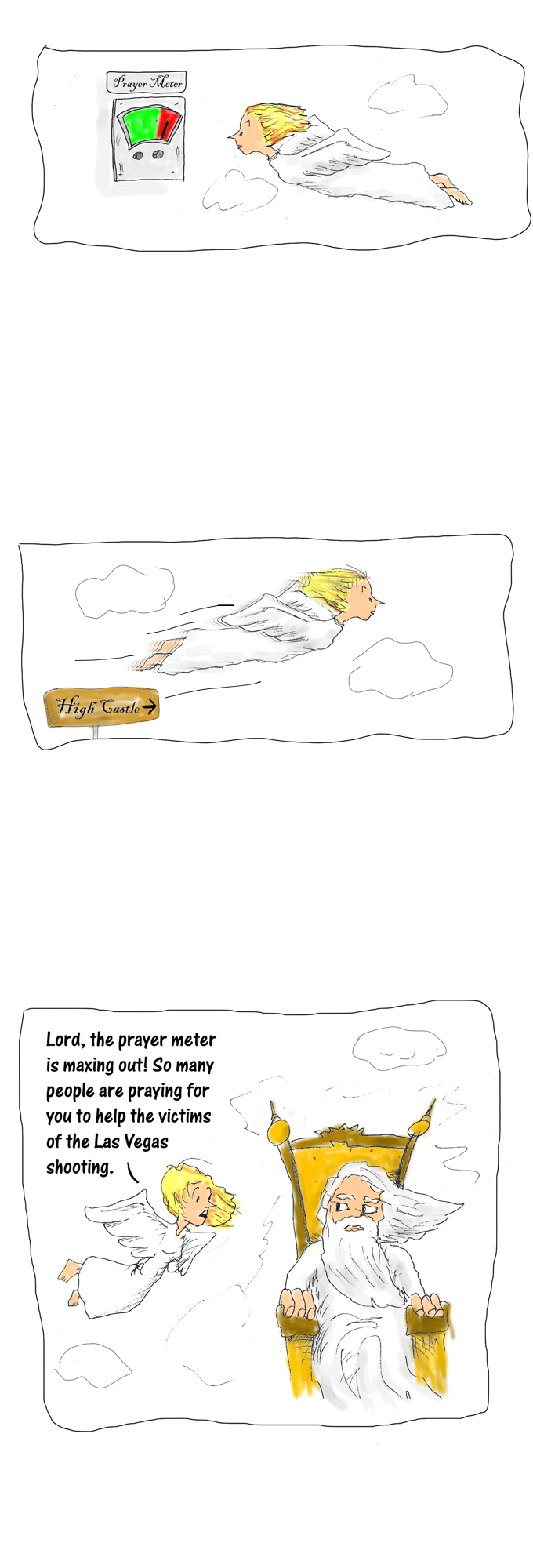 Cartoon story: prayer overload part 1